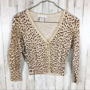 WHBM Leopard Cropped Cardigan Sweater Jacket M